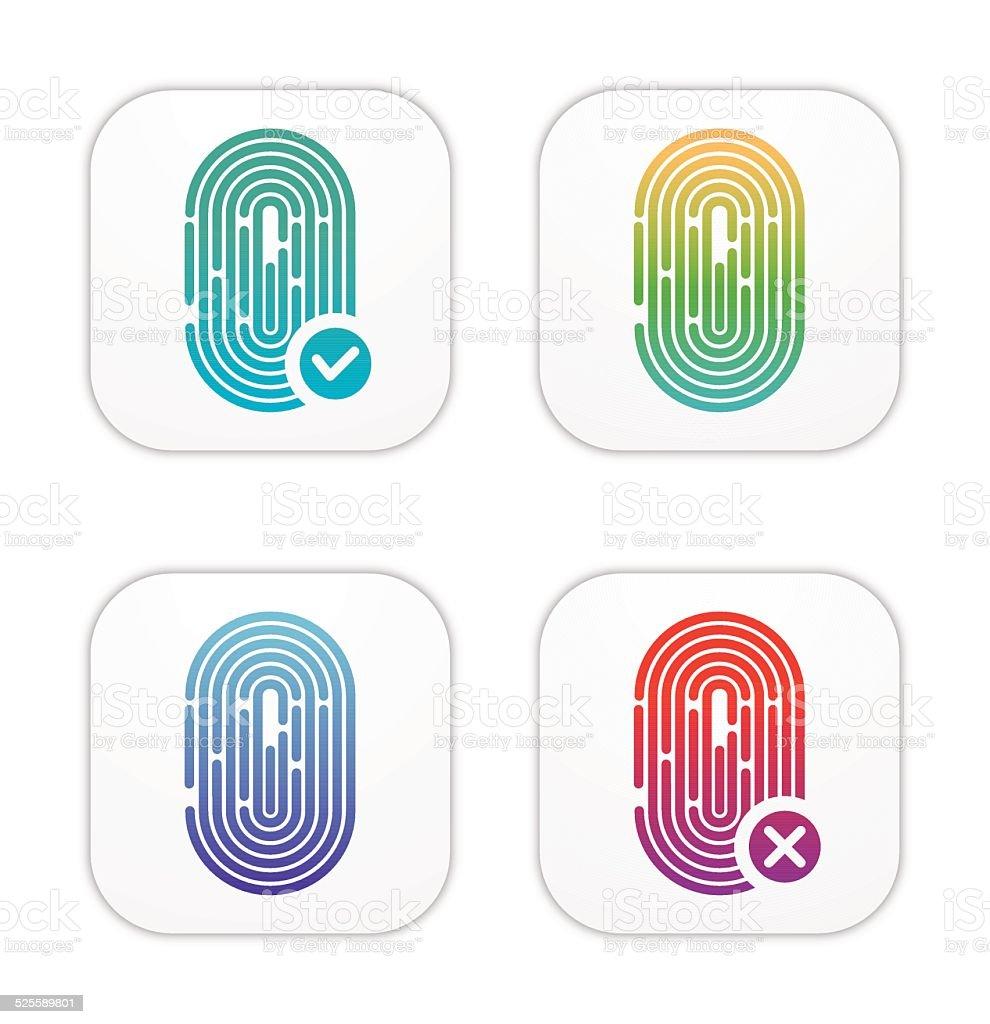 ID Fingerprint icons vector art illustration
