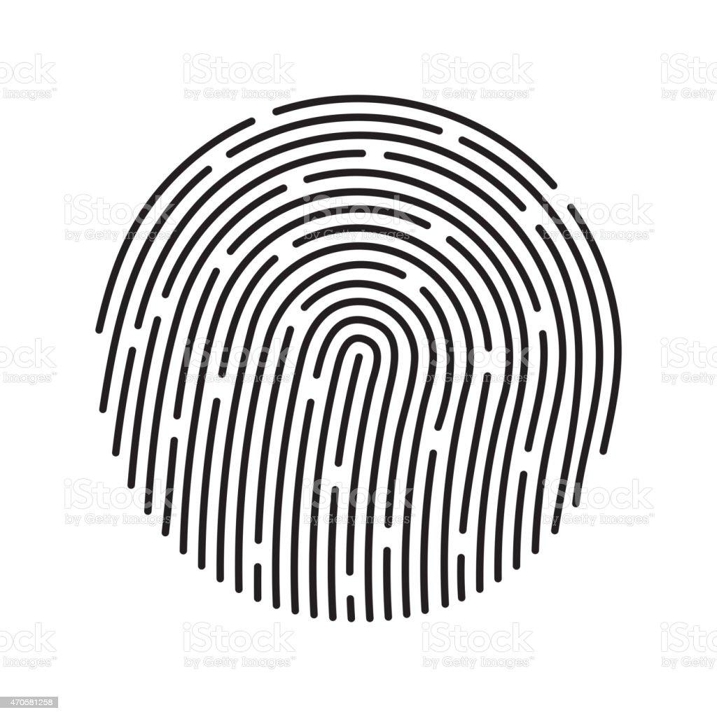 Fingerprint identification system, black symbol isolated on white vector art illustration