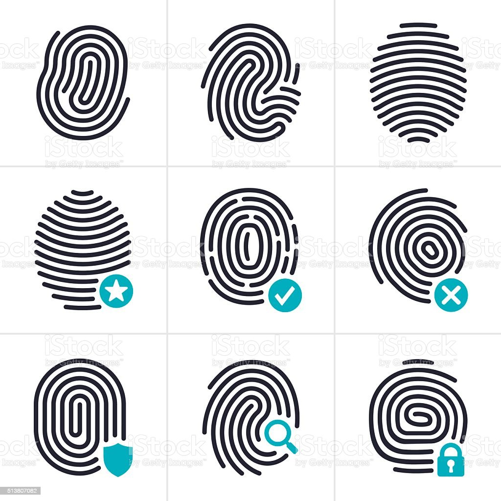 Fingerprint Identity and Security Symbols vector art illustration