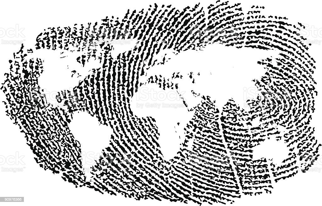A fingerprint in black, with an image of a world map inside royalty-free stock vector art
