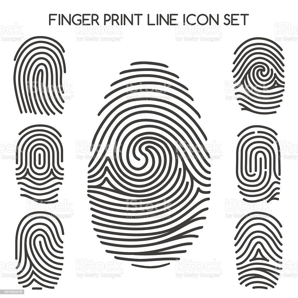 Fingerprint line icons vector art illustration