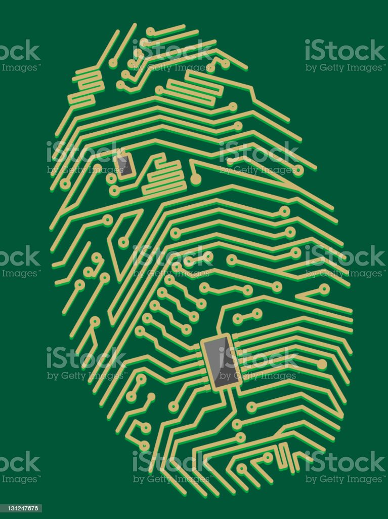 Fingerprint motherboard royalty-free stock vector art