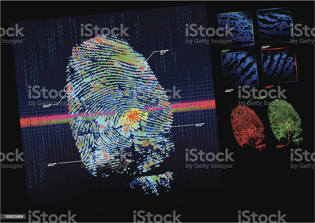 A fingerprint scanner checking a print against a database royalty-free stock vector art