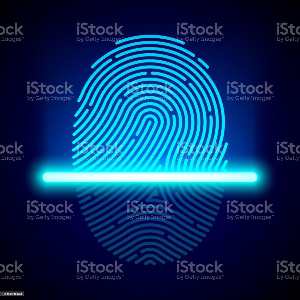 Fingerprint scanner, identification system vector art illustration