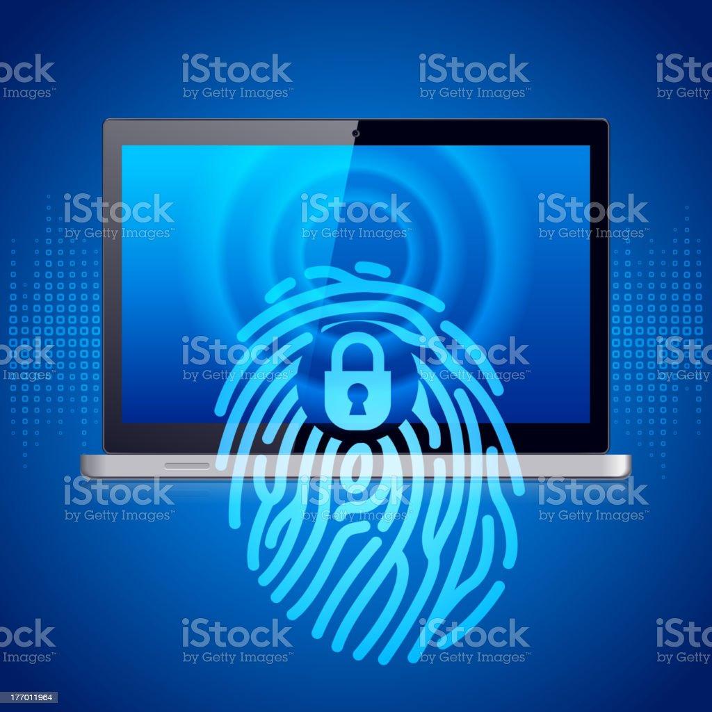 Fingerprint Scanning laptop royalty-free stock vector art