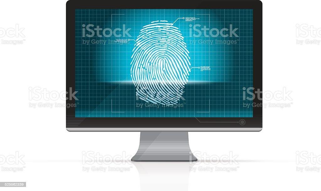 Fingerprint scanning on computer screen vector art illustration