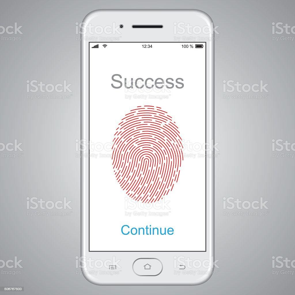 Fingerprint scanning on smart phone. Vector stock photo