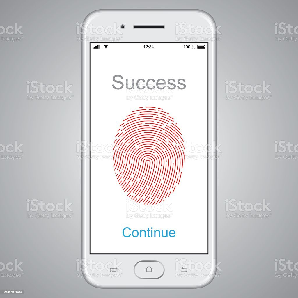 Fingerprint scanning on smart phone. Vector vector art illustration