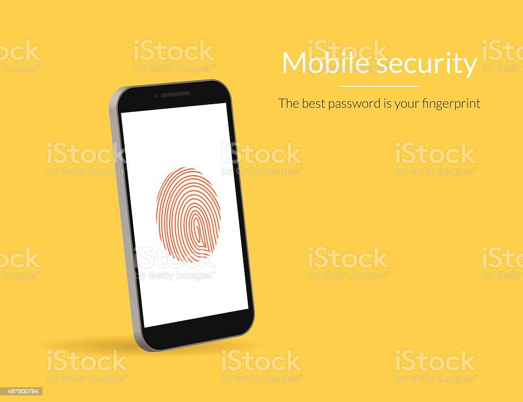 Fingerprint scanning on smartphone vector art illustration