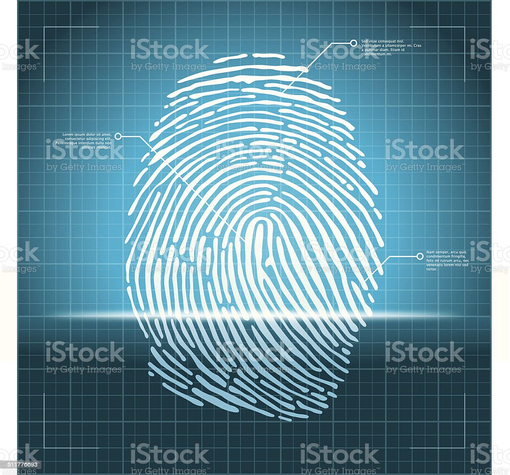 Fingerprint scanning technology vector art illustration