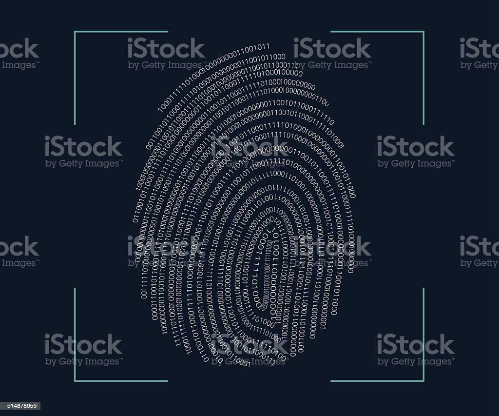 Fingerprint scanning vector art illustration