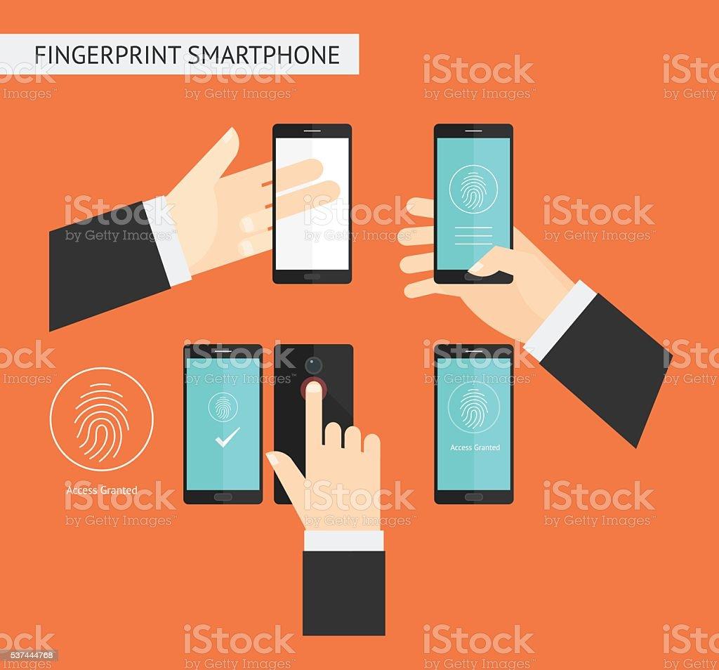 Fingerprint Smartphone vector art illustration