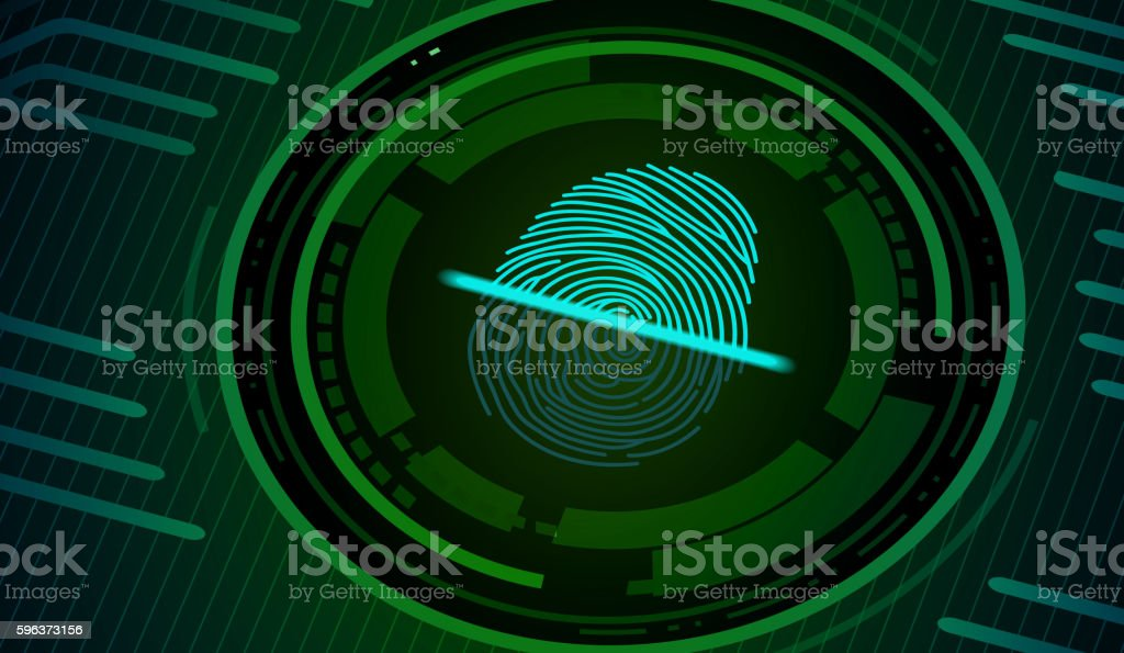 Fingerprint with concept green abstract technology background vector art illustration