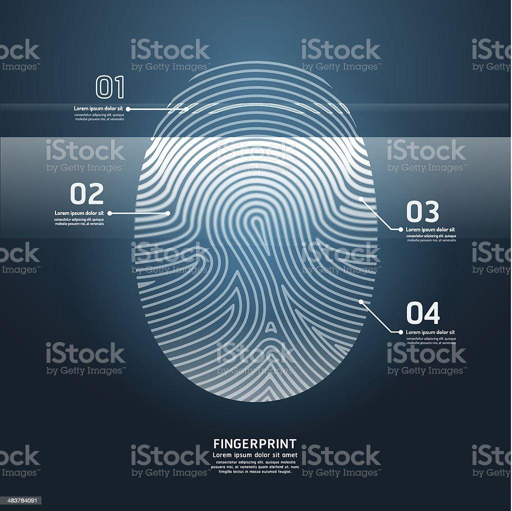 Fingerprint with magnifier vector illustration. vector art illustration