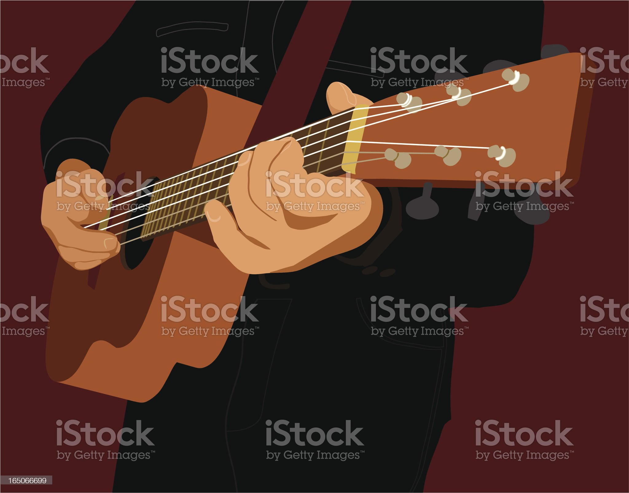 Fingers at Guitar royalty-free stock vector art