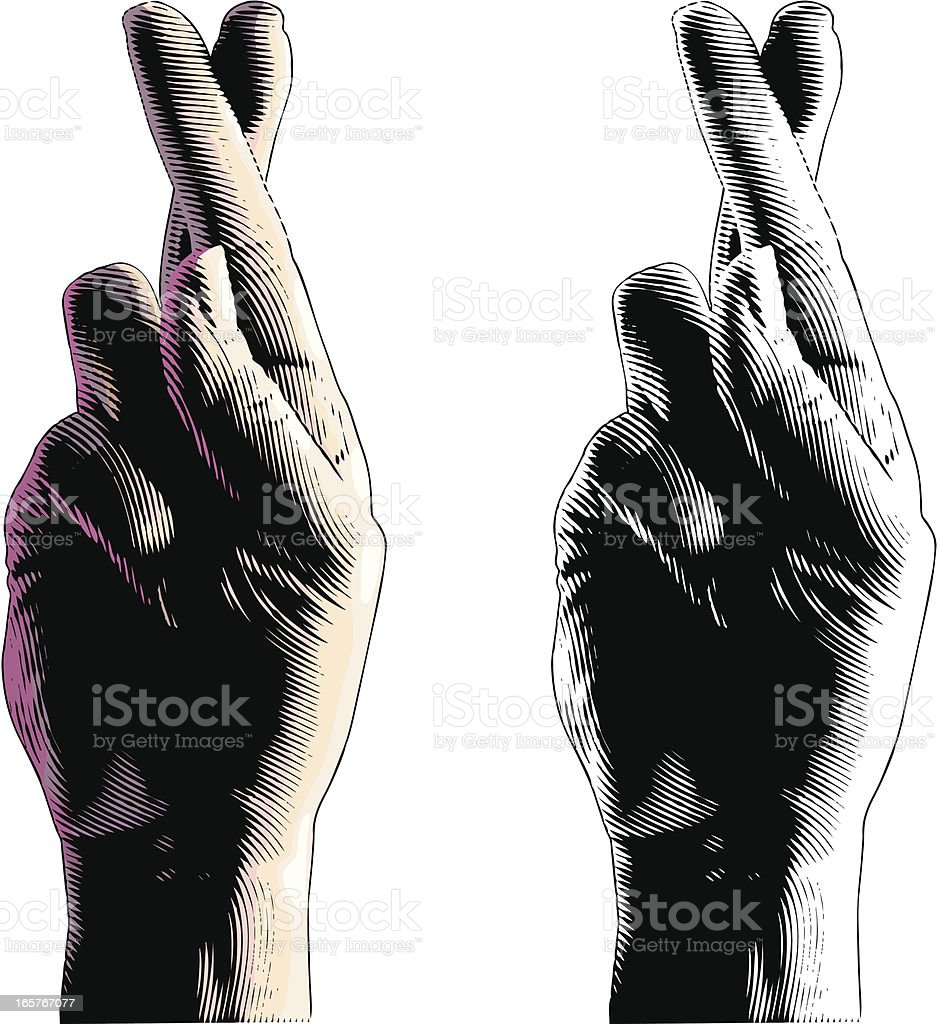 Fingers Crossed For Good Luck vector art illustration