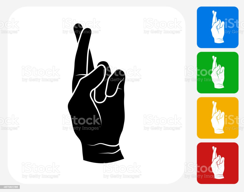 Fingers Crossed Icon Flat Graphic Design vector art illustration