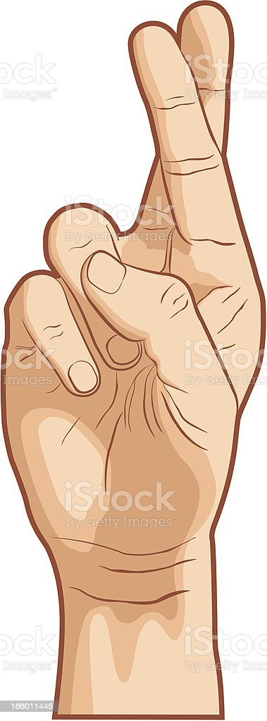 Fingers Crossed vector art illustration