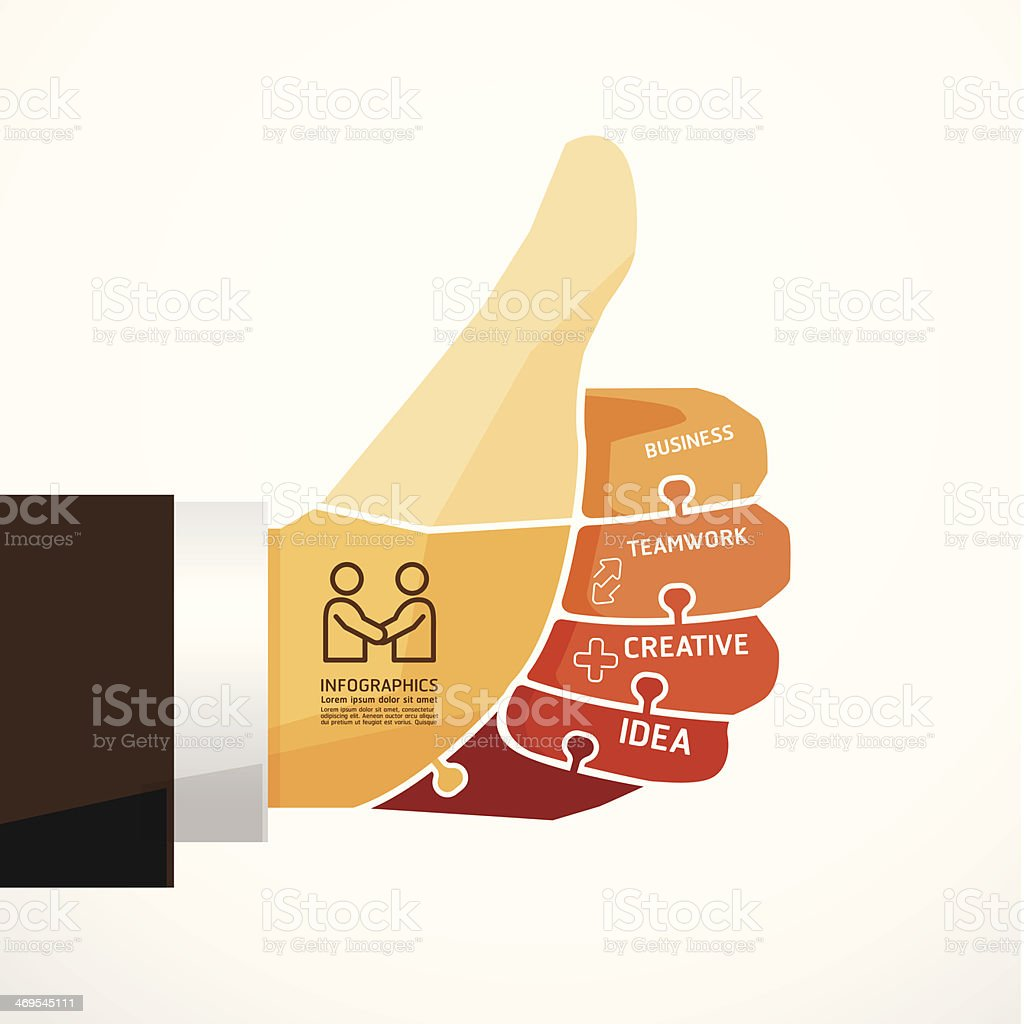 fingers shape good ok jigsaw banner royalty-free stock vector art