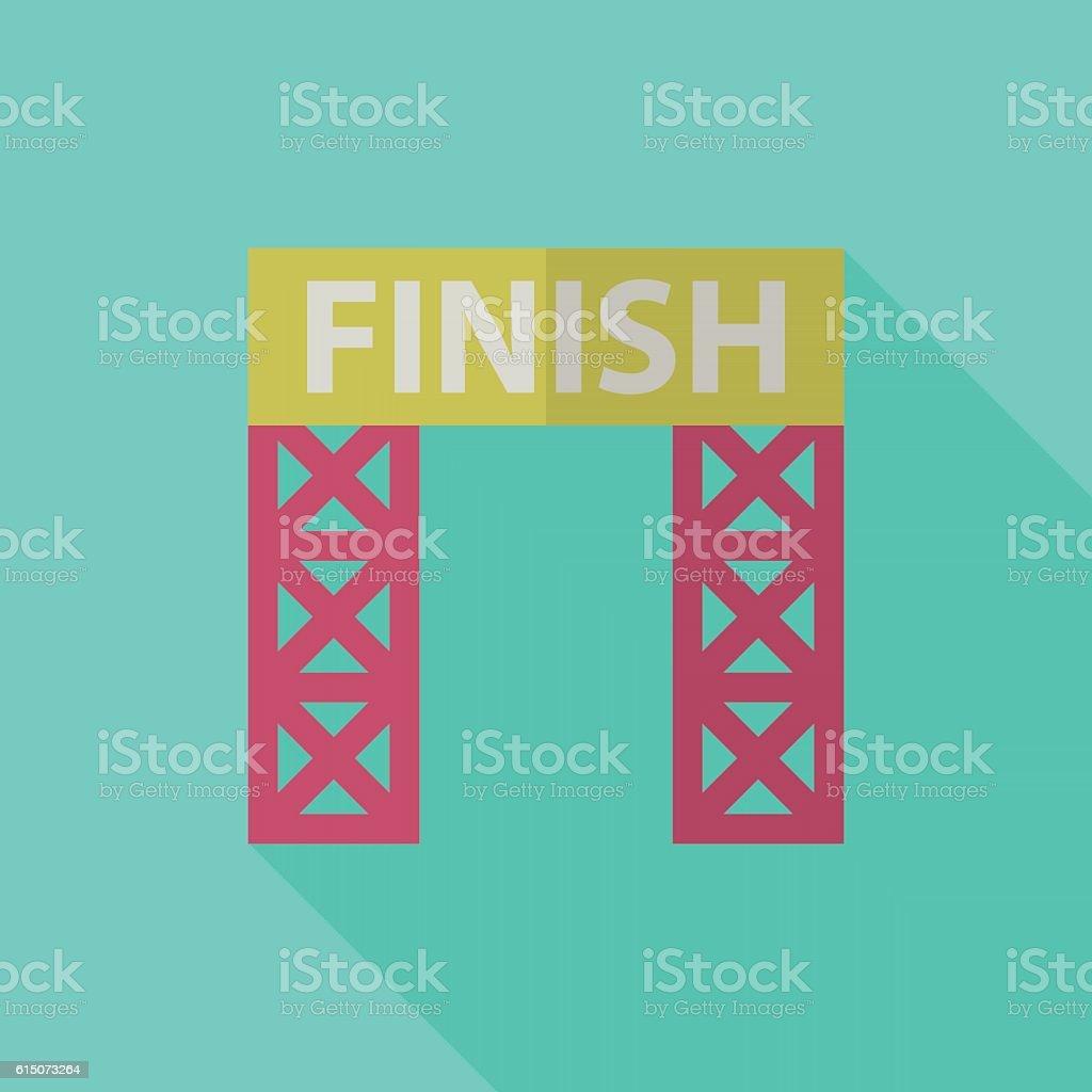 Finish banner icon , Vector flat long shadow design. Racing conc vector art illustration