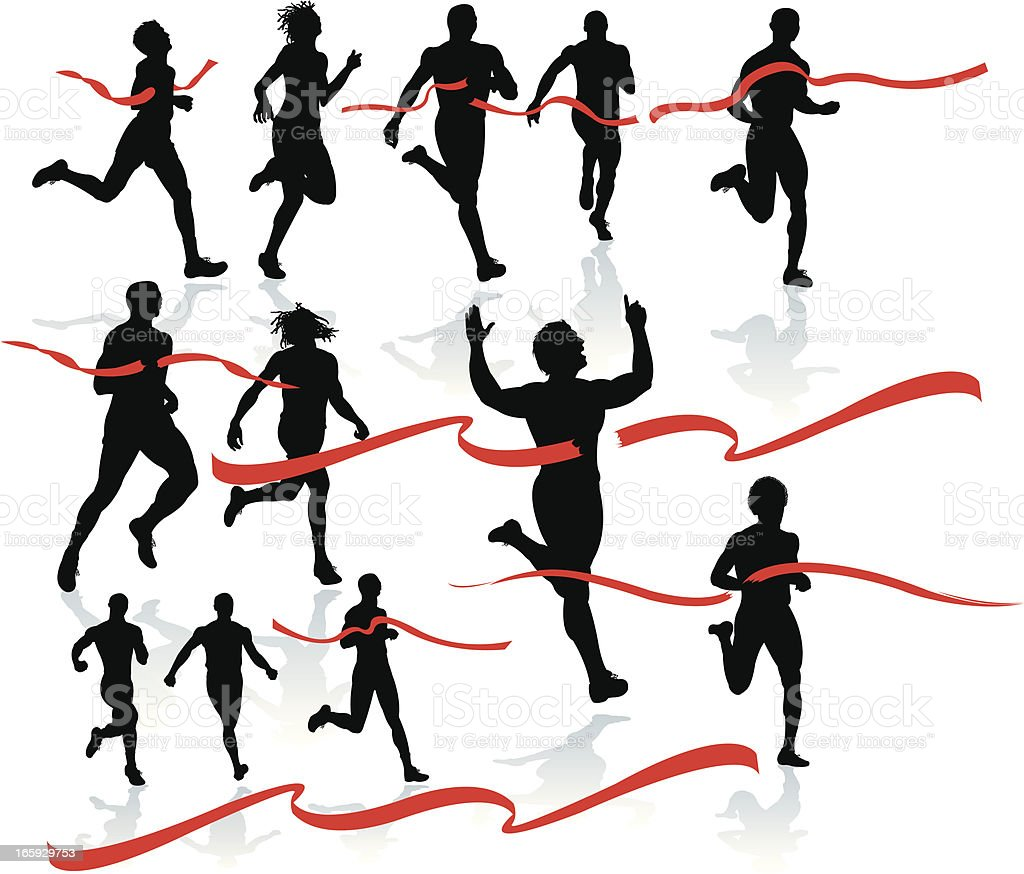 Finish Line - Runner, Sprinter, Track and Field vector art illustration