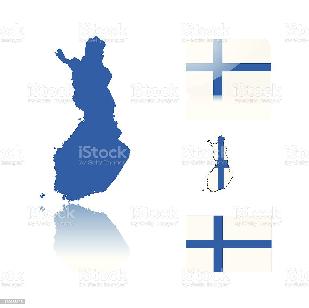 Finish map and flags vector art illustration