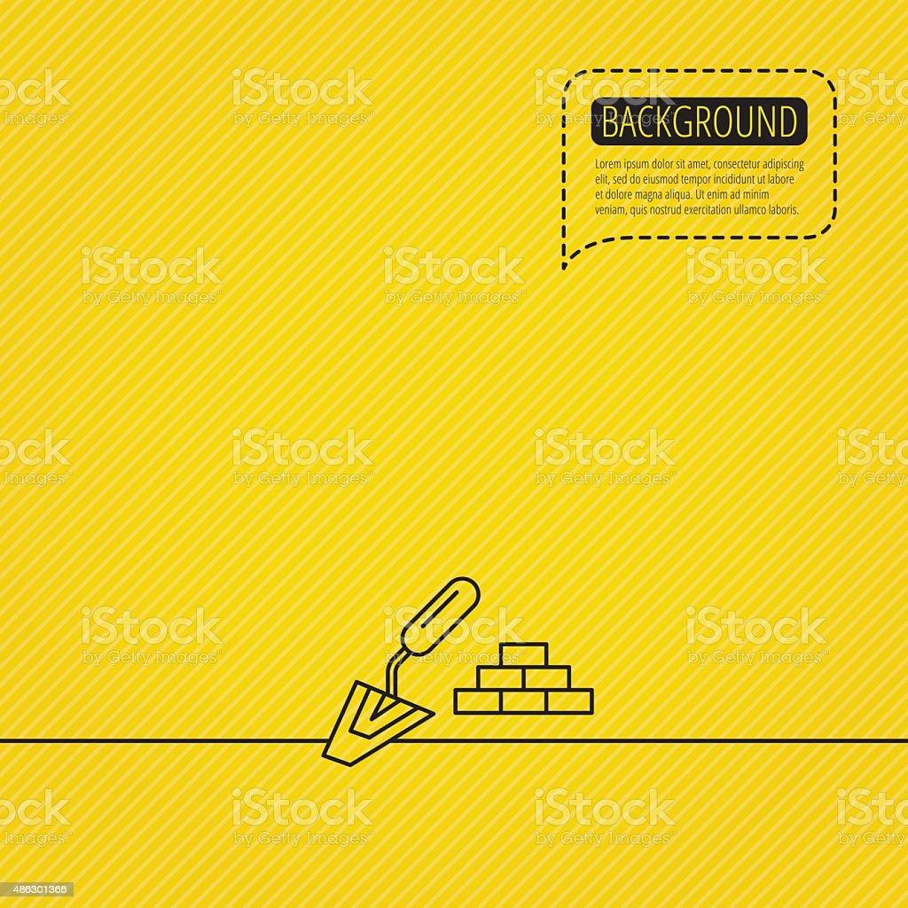 Finishing icon. Spatula with bricks sign. vector art illustration