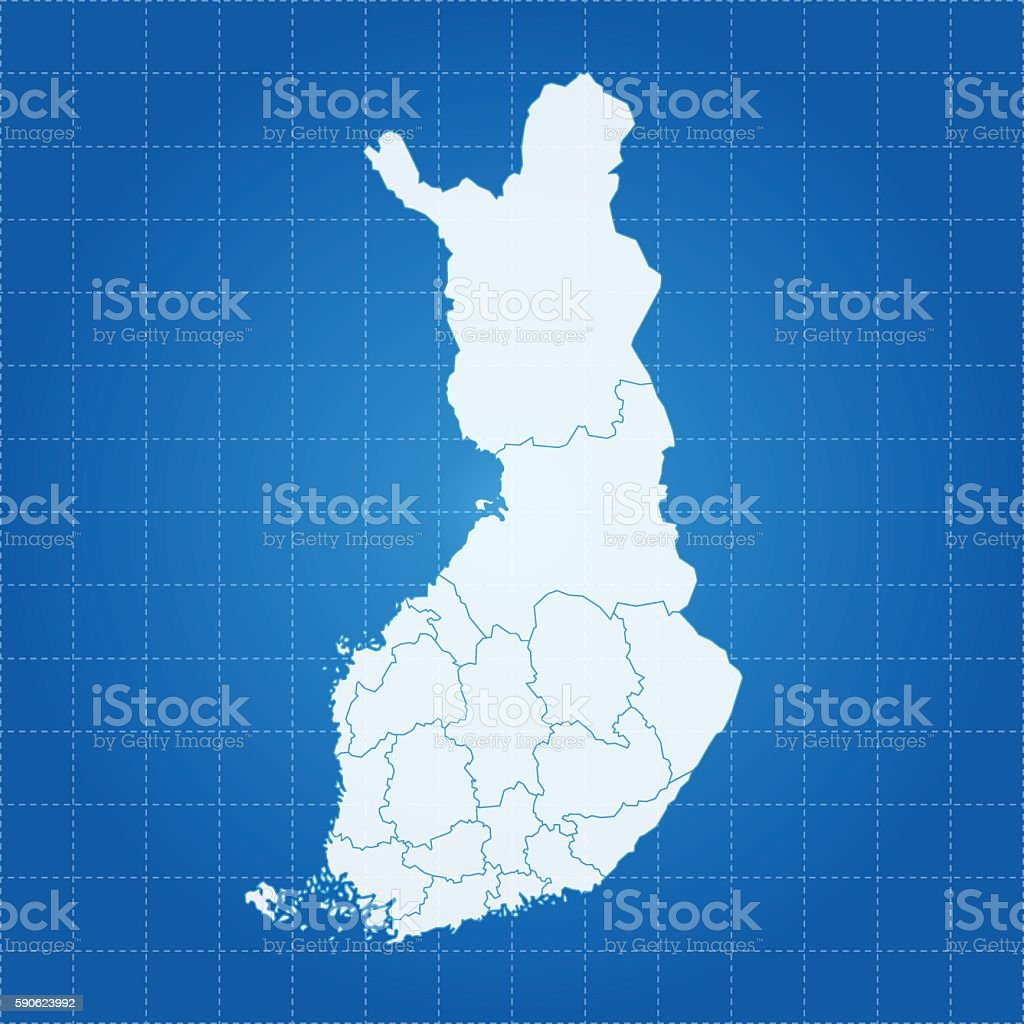Finland blue map on glow grid background vector art illustration