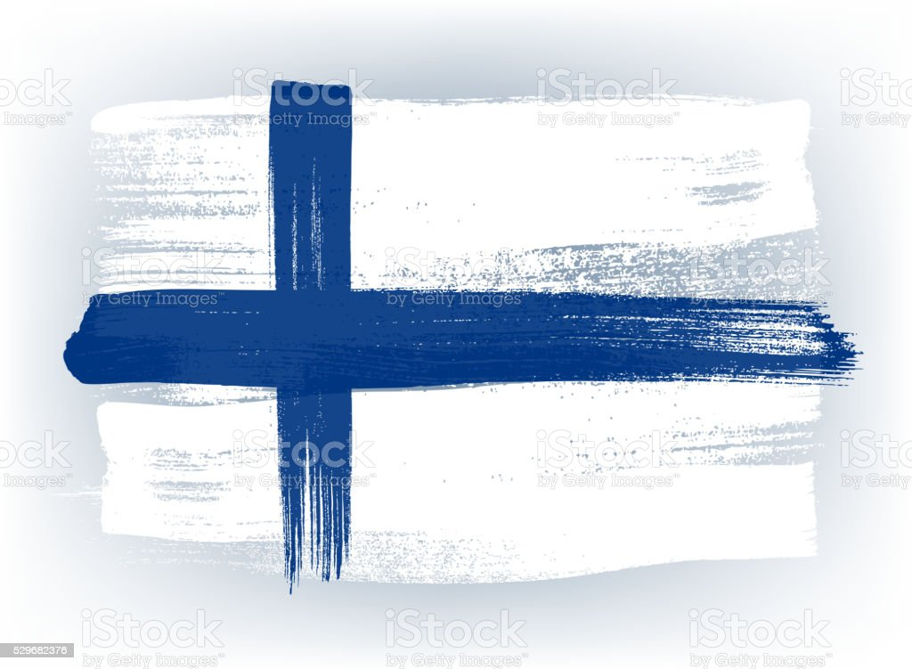 Finland colorful brush strokes painted flag vector art illustration