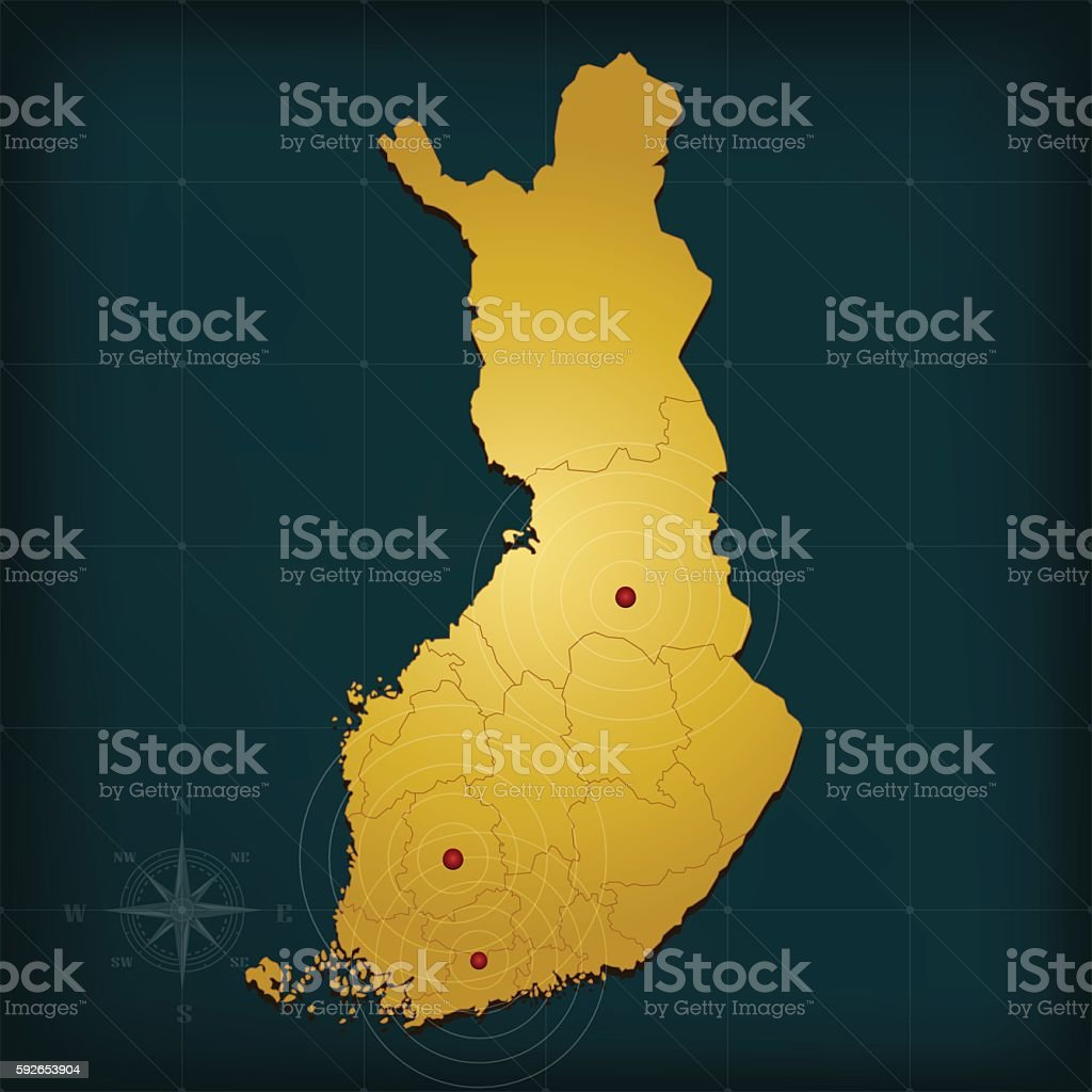 Finland golden brown map with city markers on teal background vector art illustration