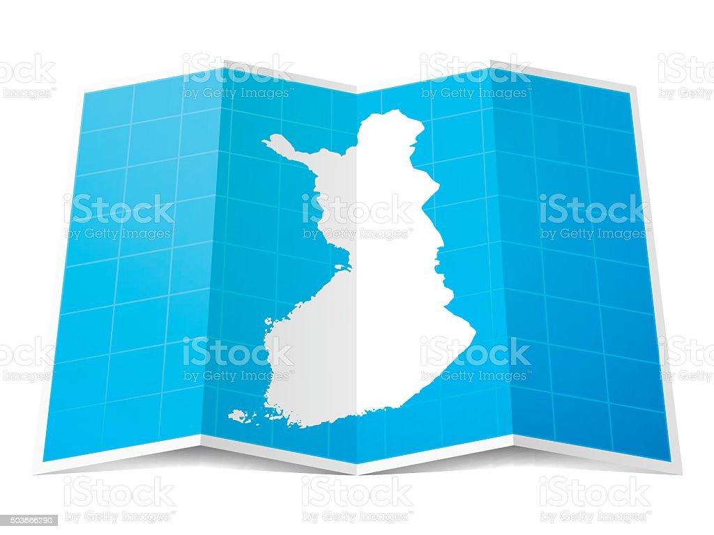 Finland Map folded, isolated on white Background vector art illustration