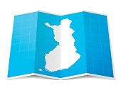 Finland Map folded, isolated on white Background