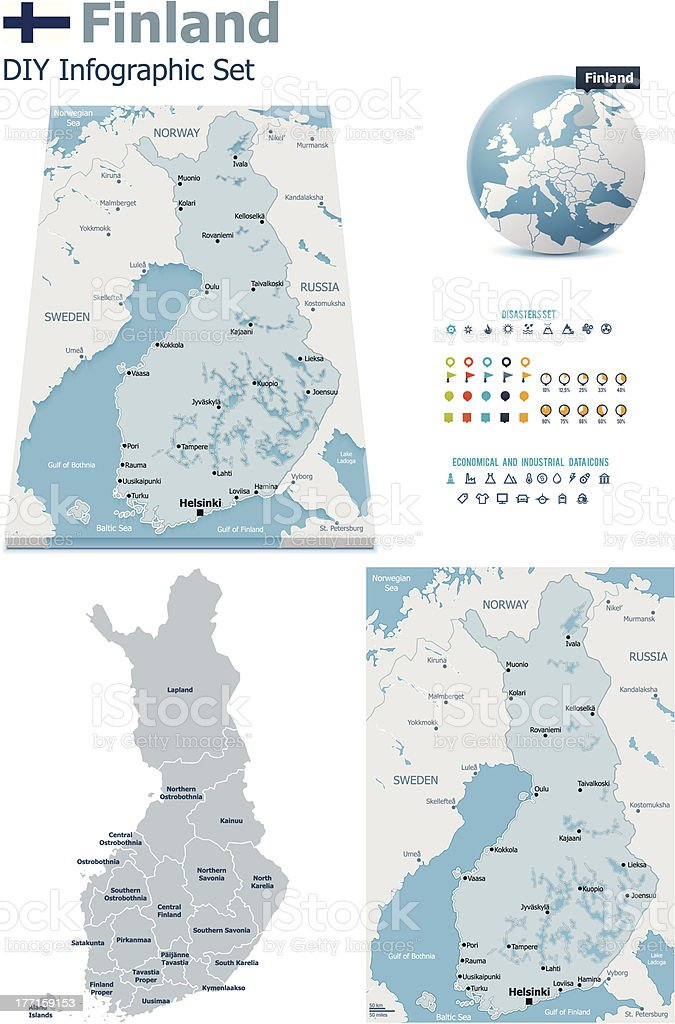 Finland maps with markers royalty-free stock vector art
