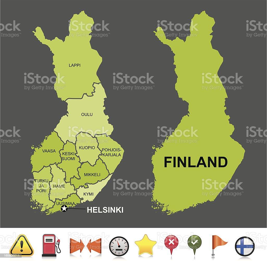 Finland navigation map royalty-free stock vector art