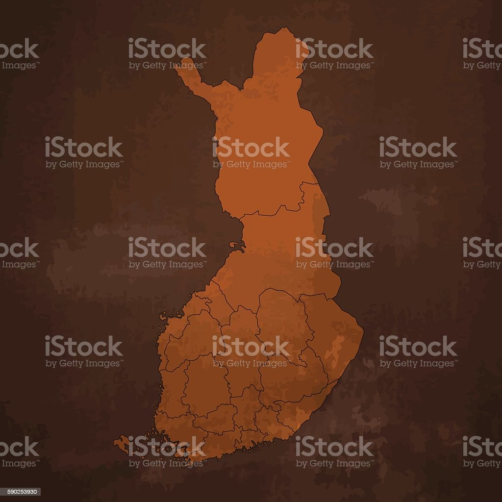 Finland old rusty map on dirty metal brown background vector art illustration