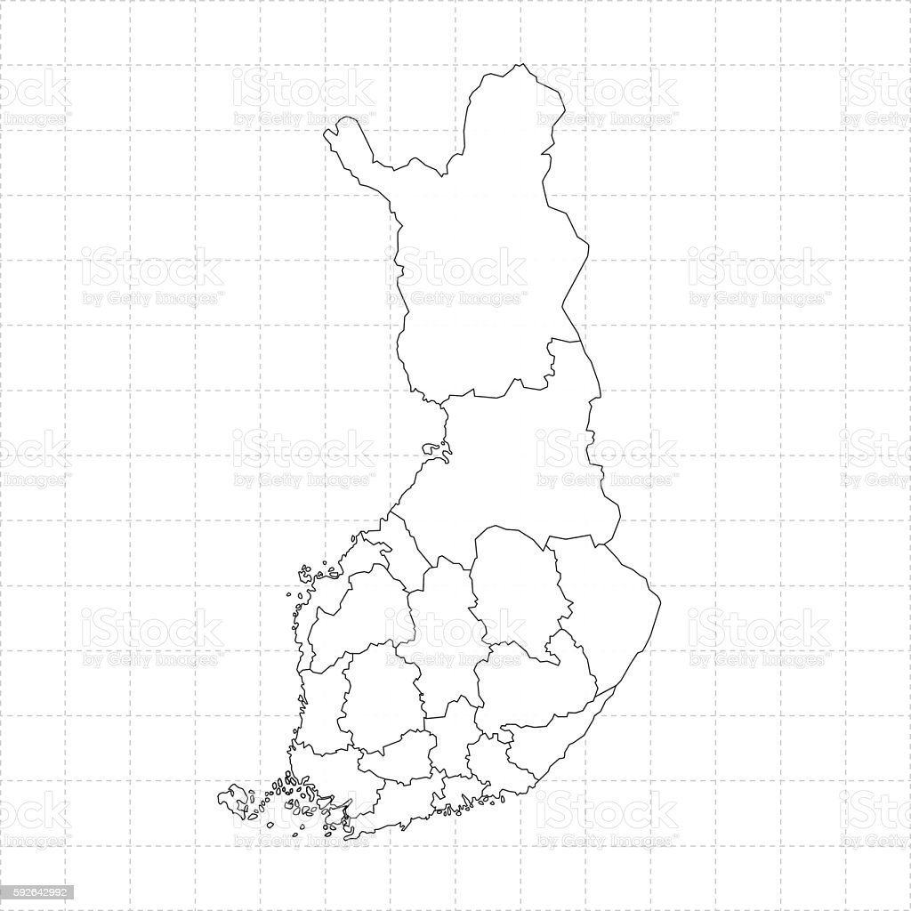 Finland outline map on white background with grid vector art illustration