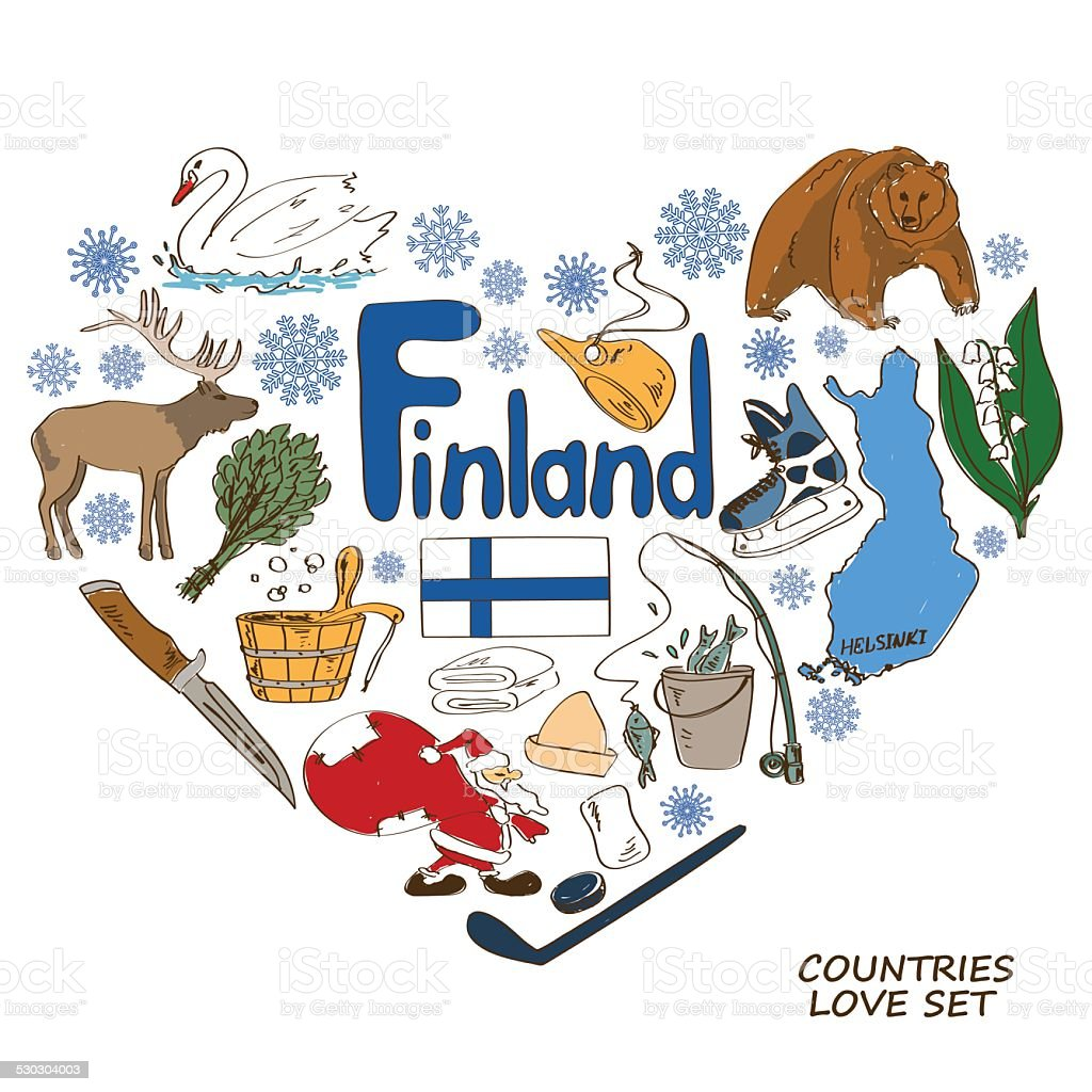 Finland symbols in heart shape concept vector art illustration