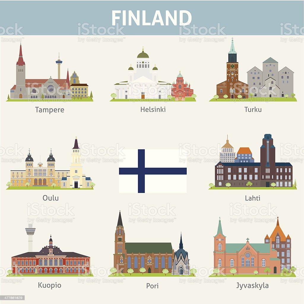 Finland. Symbols of cities vector art illustration