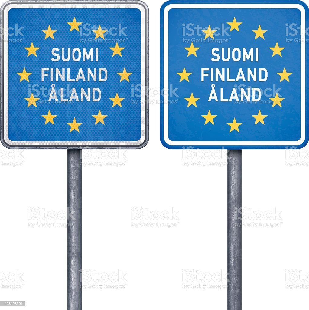 Finnish border road sign with European flag royalty-free stock vector art