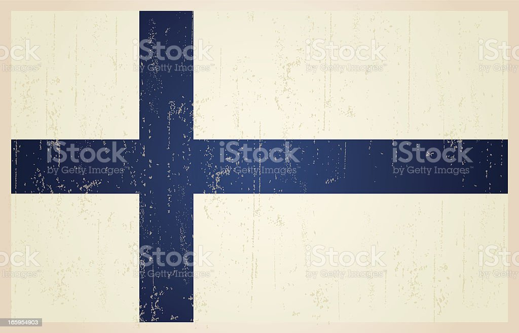 Finnish flag in grunge and vintage style. royalty-free stock vector art