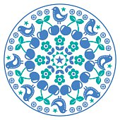 Finnish inspired round folk art pattern - Scandinavian, Nordic style