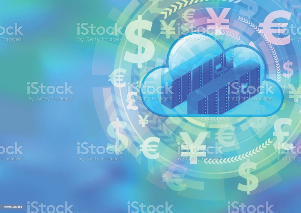FinTech (financial technology) and cloud computing, foreign exchange, abstract image visual vector art illustration