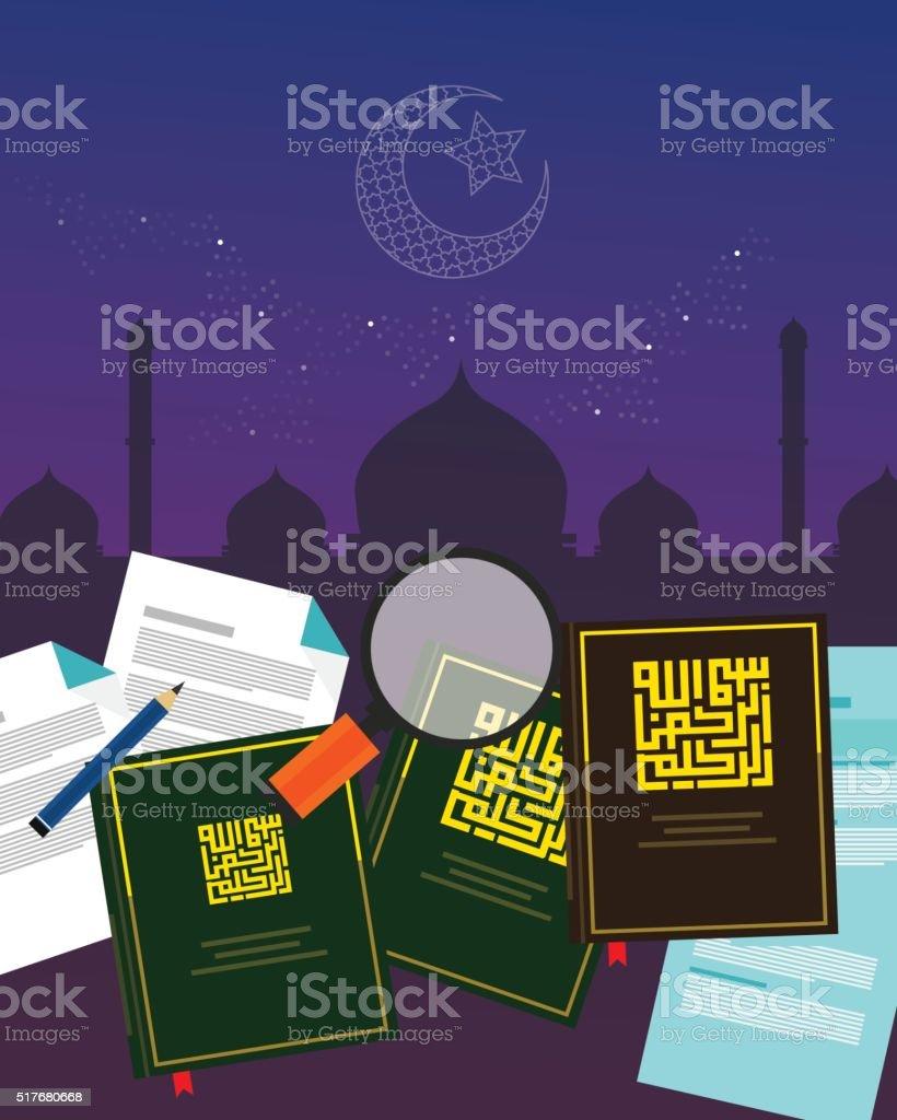 fiqh fiqih Islamic jurisprudence study islam religion literature books  Sharia vector art illustration