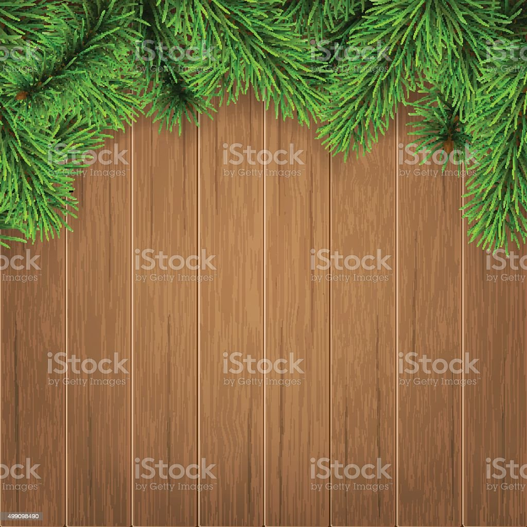 fir branches on wooden boards vector art illustration