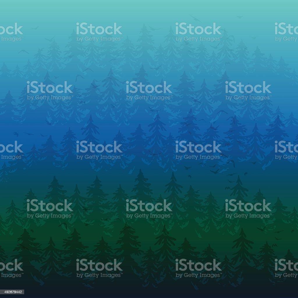 Fir forest in the fog vector art illustration