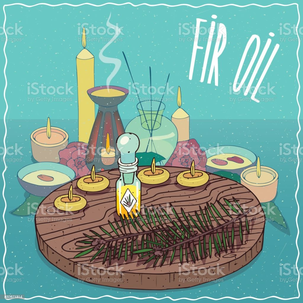 Fir oil used for aromatherapy vector art illustration