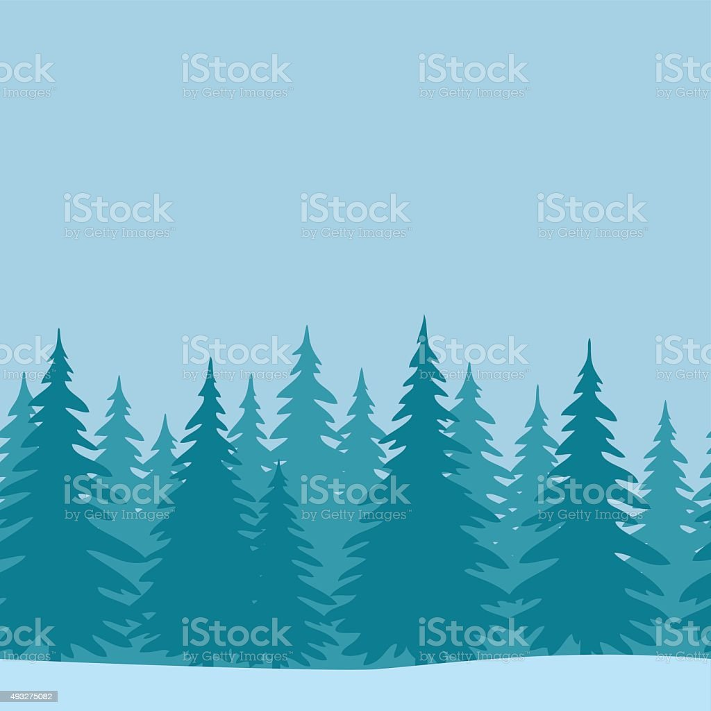 Fir Trees, Seamless Landscape vector art illustration