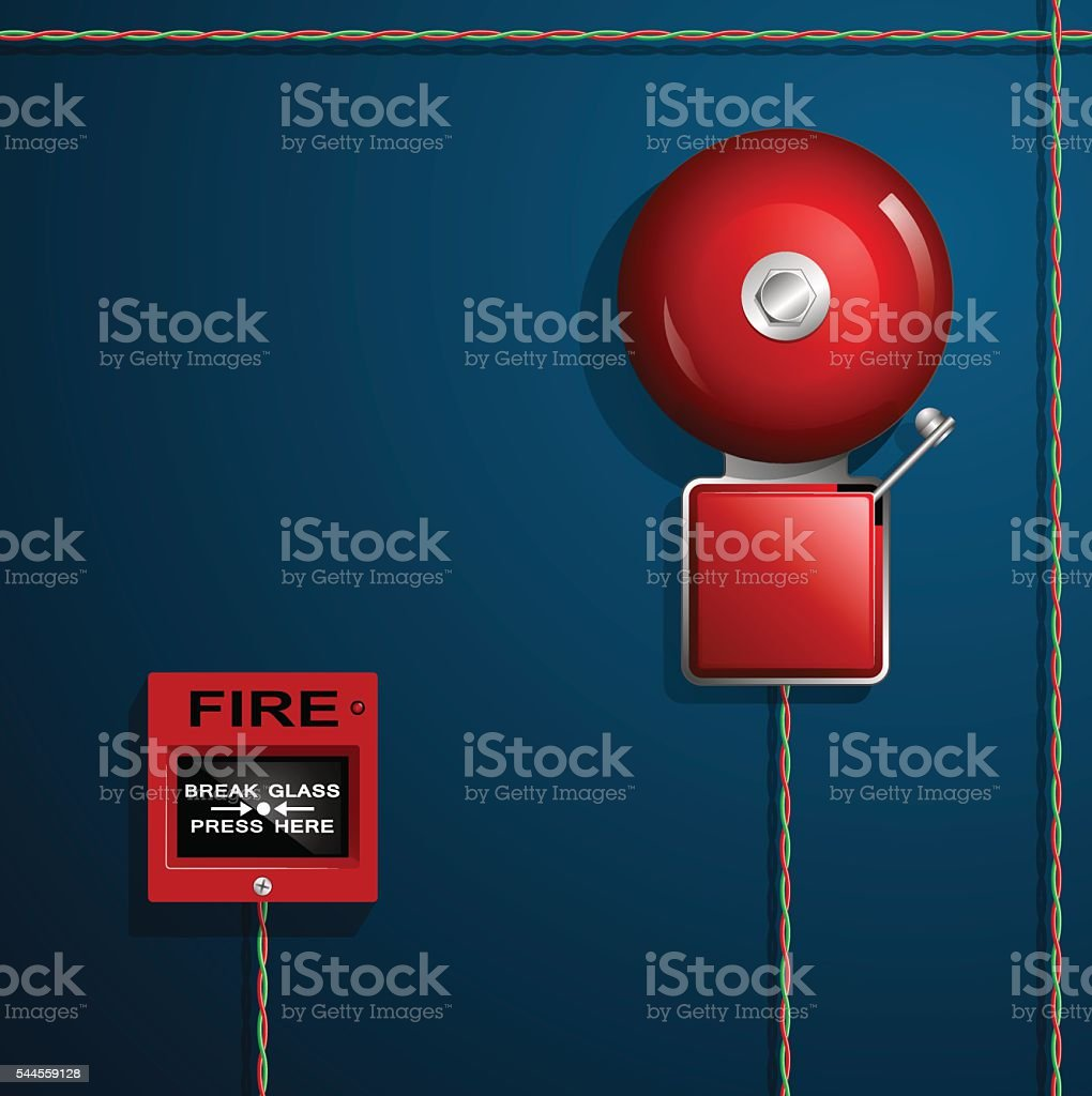 Fire alarm on the wall. Bell, button and wires. vector art illustration