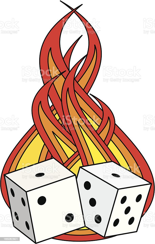 Fire and Dice vector art illustration