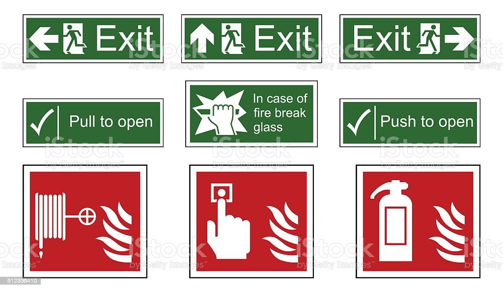 Fire and Emergency Exit Signs vector art illustration